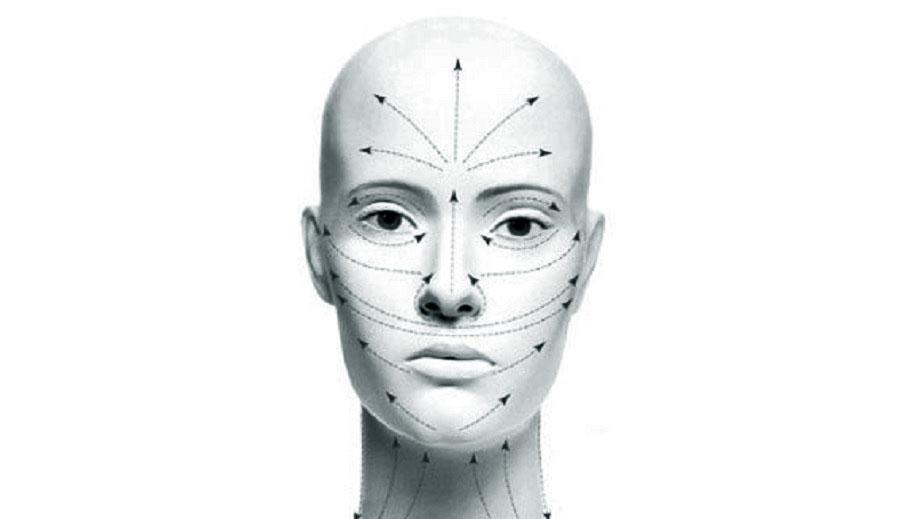 Линии выполнения лимфодренажного массажа лица